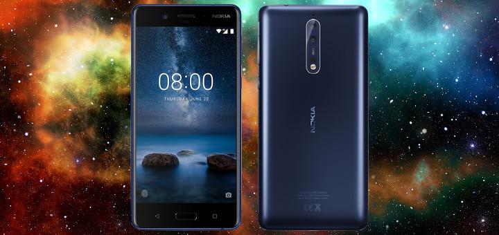 Vista frontal del Nokia 8, ahora con S.O Android
