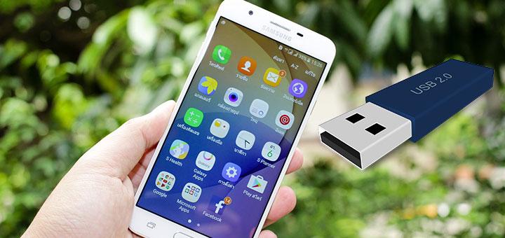 Imágen de un smartphone Android y un pendrive