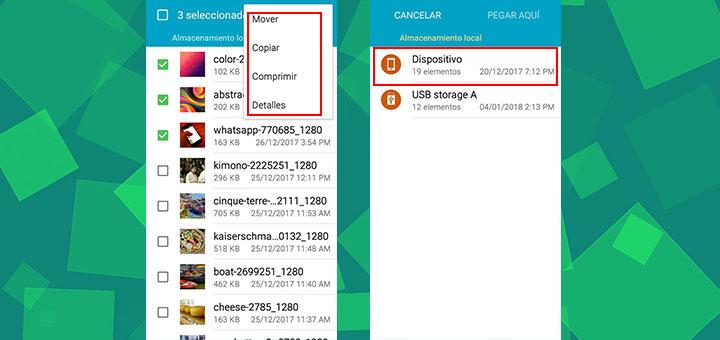 Imagen sobre copiar o mover archivos desde el pendrive hasta el smartphone