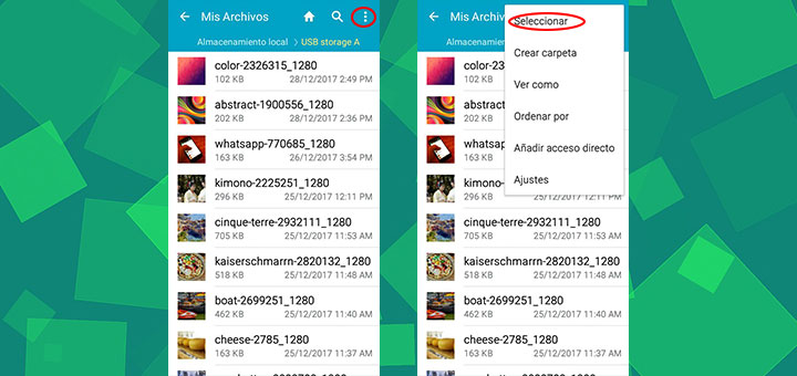 Imágen sobre como seleecionar archivos de un pendrive conectado a un smartphone Android