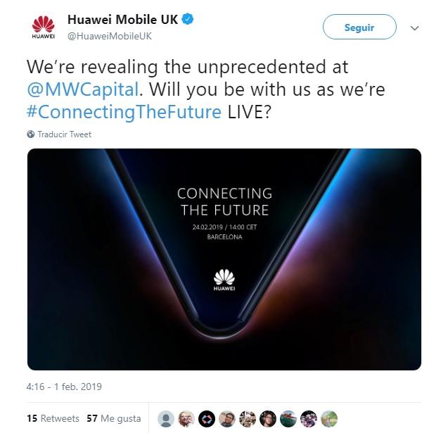 Tweet de la cuenta oficial de Huawei, en donde se habla del smartphone plegable de Huawei