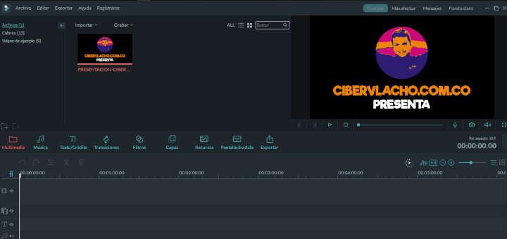 Interfaz de Filmora