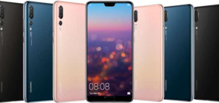 Foto de diferentes modelos de smartphones Huawei